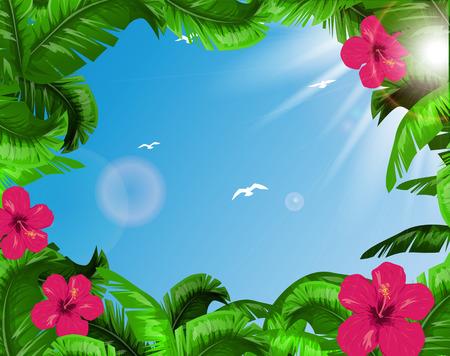 Tropical leaves Ilustração