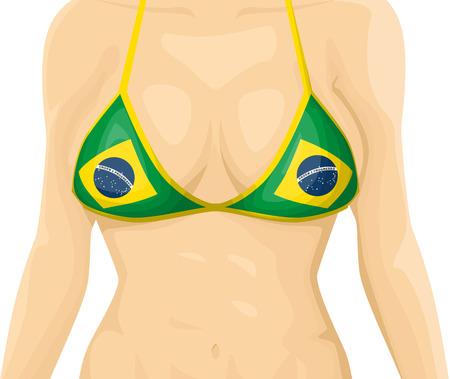 breast comic: Brazilian bikini Illustration