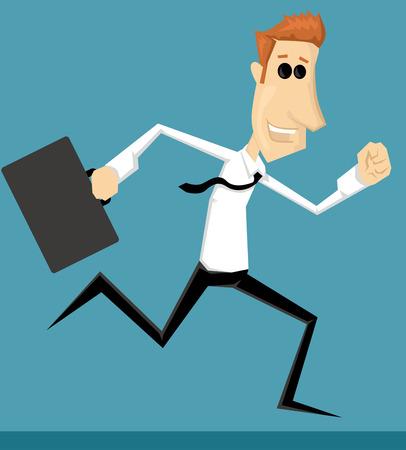 Running cartoon office worker Stock Vector - 30148448