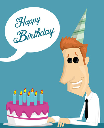 office party: Cartoon office worker with a birthday cake Illustration