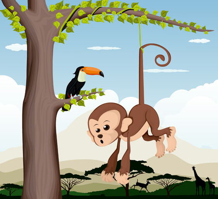 cheeky: Monkey and a bird in a tree