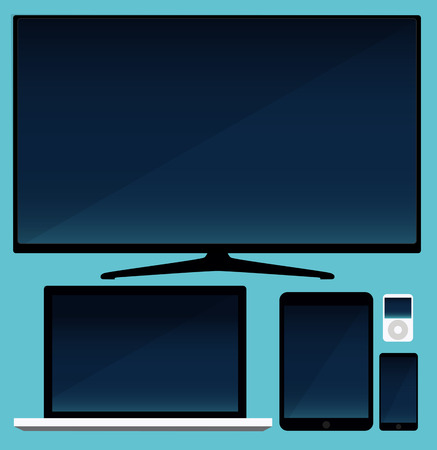 fullhd: Lcd tv, smartphone and tablet and laptop Illustration