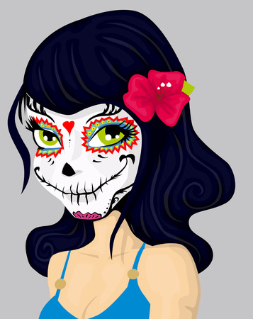Cartoon girl in dead mask makeup Vector