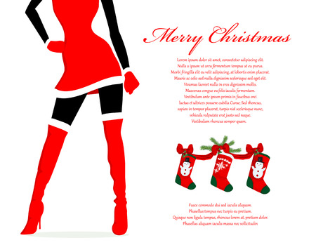 sensual: Santa girl Christmas background