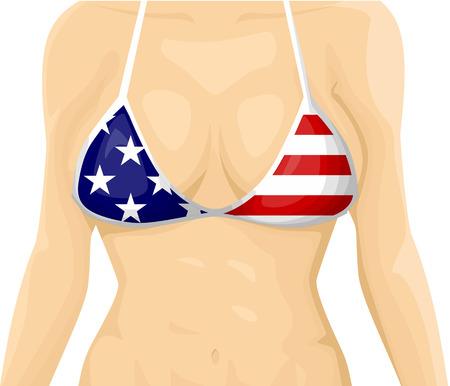 breast comic: USA flag bikini Illustration