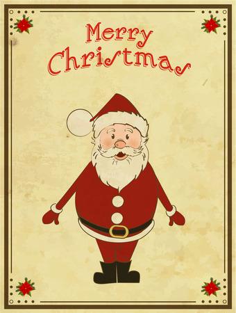 Merry Christmas card with Santa Vector
