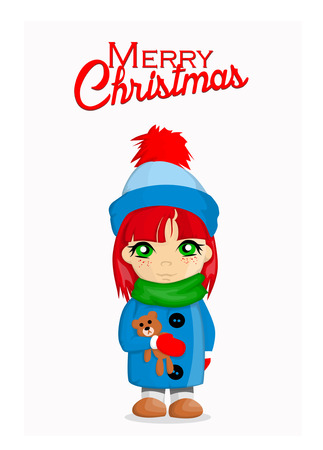 pretty little girl: Merry Christmas card with cute girl