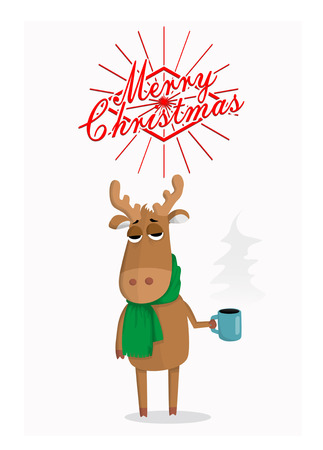 big head: Merry Christmas card with cartoon deer