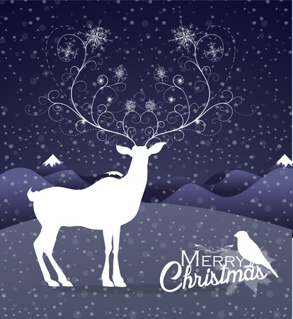 white tail deer: Abstract Reindeer at night Christmas background