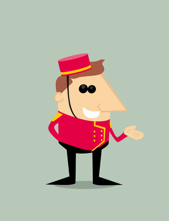 porter: Cartoon bellboy Illustration