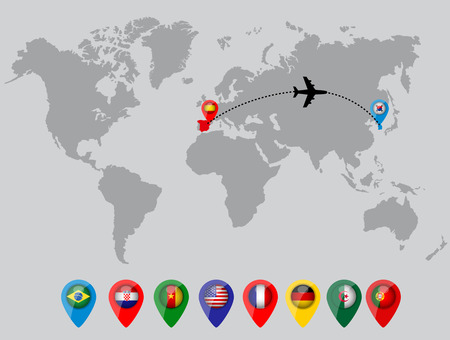 straight pin: World map with country flag pins