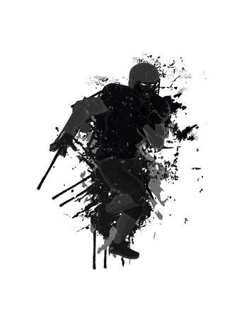 grunge football: Grunge football player background Illustration