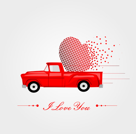 pick light: Pickup Truck with Lovely Heart