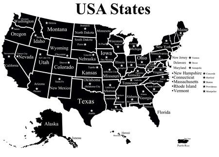 alabama: USA map with states Illustration