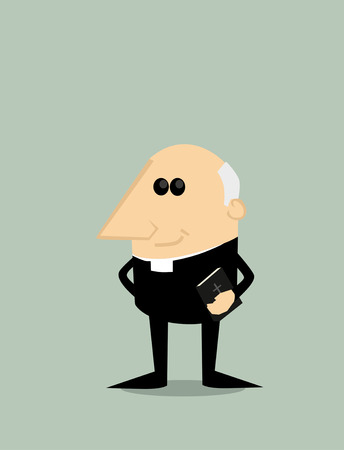 clergyman: Cartoon priest Illustration