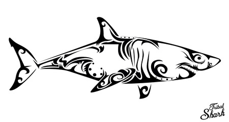 sharks: Tribal shark Illustration