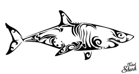 Tribal shark Stock Illustratie