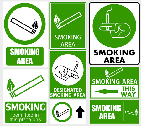 designated: Set of smoking area signs Illustration