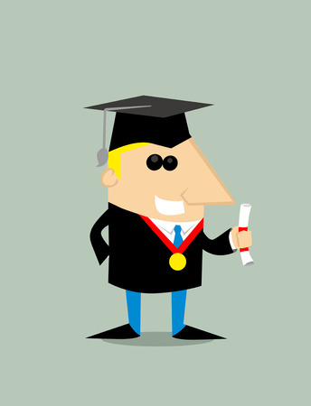 succeeding: Cartoon graduating studen