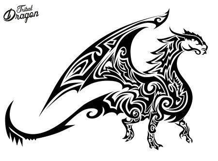 tribal wings: Tribal Dragon Illustration