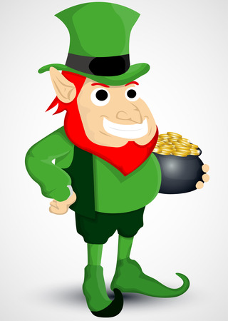 cheerful leprechaun with a pot of gold royalty free cliparts    leprechaun   a pot of gold vector