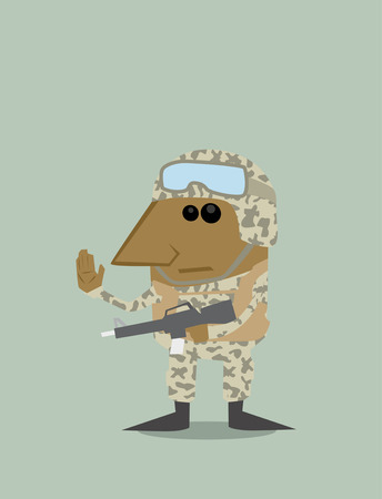 explosion risk: Cartoon soldier Illustration