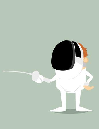 fencing foil: Cartoon fencer Illustration
