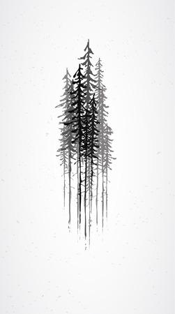 planta con raiz: Árboles abstractos Grunge Vectores