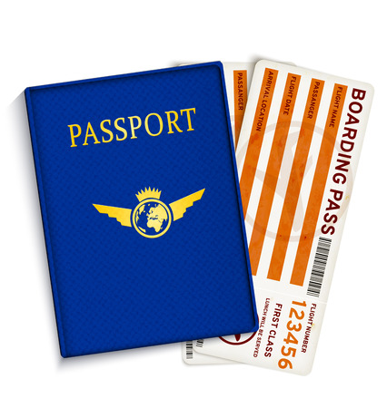 boarding card: Airline passenger boarding pass tickets Illustration