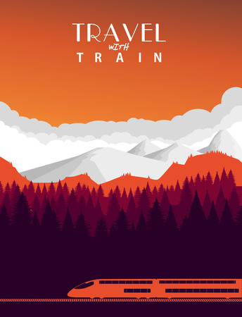 Reizen met de trein achtergrond Stock Illustratie