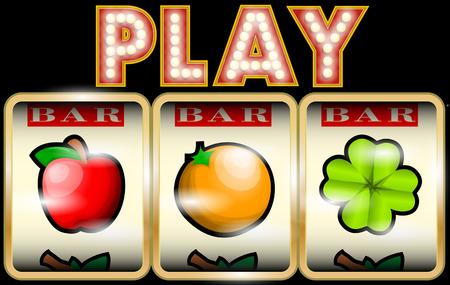 Slot Machine Illustration with fruits Illustration