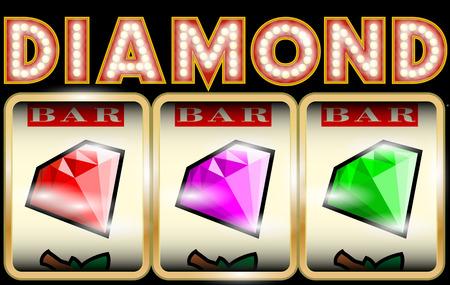 tragamonedas: Slot Machine Ilustración con diamantes Vectores