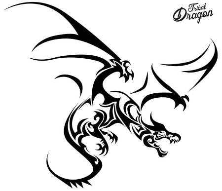 tatouage dragon: Tribal Dragon Illustration