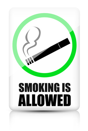 admitted: Smoking allowed sign Illustration