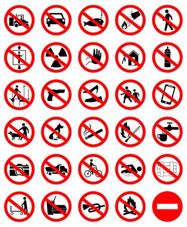 dog allowed: Prohibition symbol set