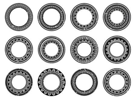 Set of circle polynesian tattoo Vettoriali