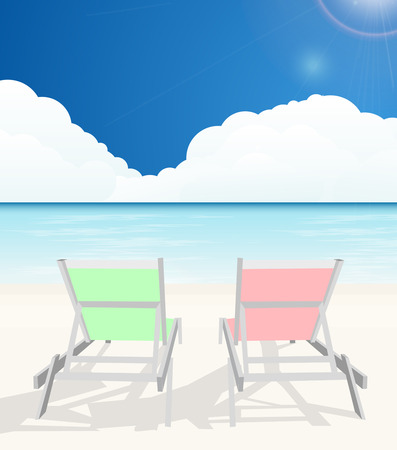 deck chairs: Deck chairs on beach Illustration