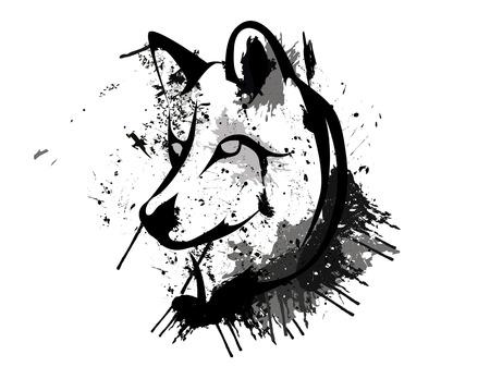 lobo: Cabeza del lobo del grunge abstracto