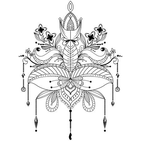 Zentangle ornamental lotus flower vector