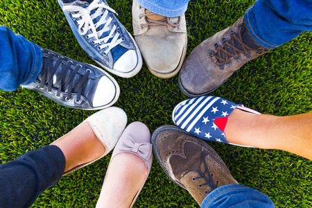 summer shoes: Circle shoe teenager for friendship Stock Photo