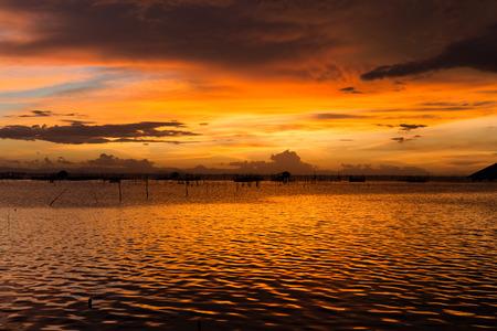 lake sunset Banco de Imagens