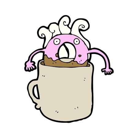 cartoon doughnut in coffee Stock Vector - 16968158