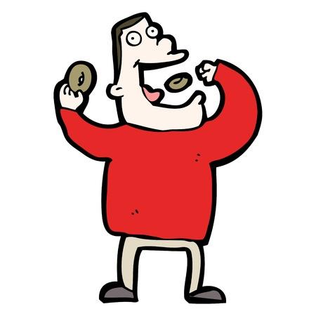 cartoon man eating junk food Stock Vector - 20669924