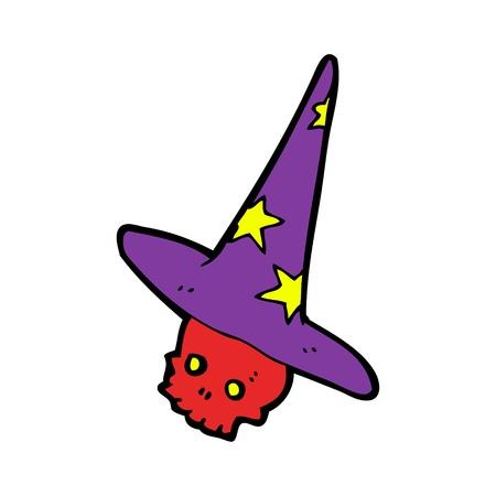 wizard hat: cartoon skulll in wizard hat Illustration