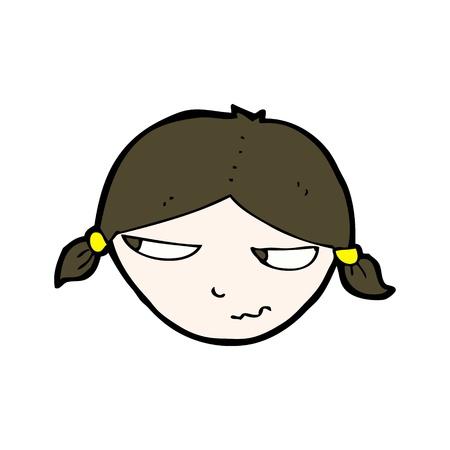 cartoon girl with annoyed face Stock Vector - 20239935