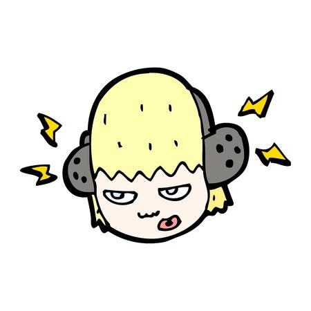 cartoon girl with headphones Stock Vector - 16891936