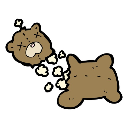 cartoon ripped teddy bear Vector