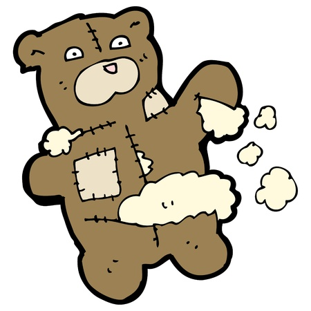 cartoon torn teddy bear Illustration