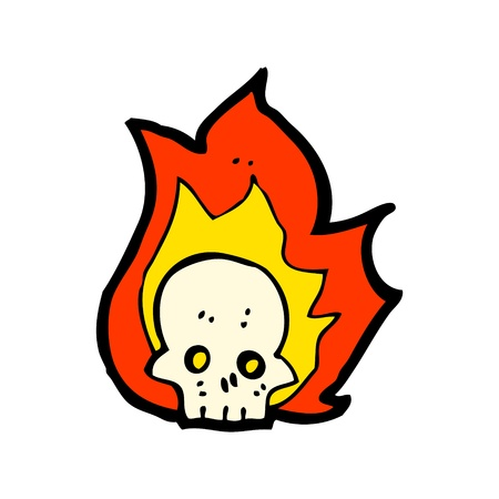 flaming skull symbol Vector