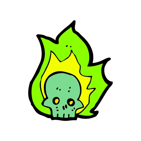 flaming skull cartoon Vector